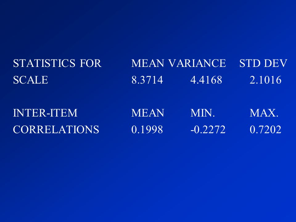 STATISTICS FOR MEAN VARIANCE STD DEV