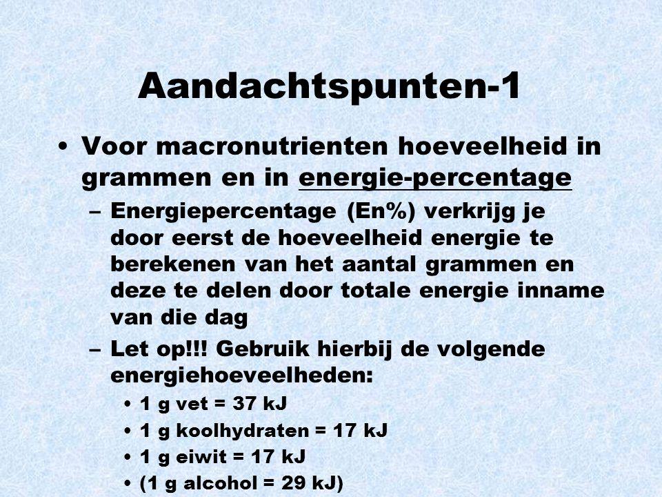 Aandachtspunten-1 Voor macronutrienten hoeveelheid in grammen en in energie-percentage.