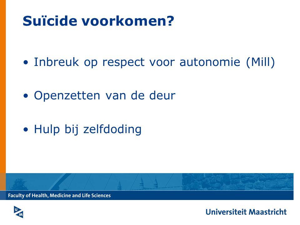 Suïcide voorkomen Inbreuk op respect voor autonomie (Mill)