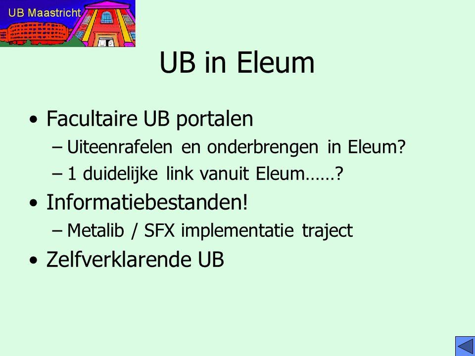 UB in Eleum Facultaire UB portalen Informatiebestanden!