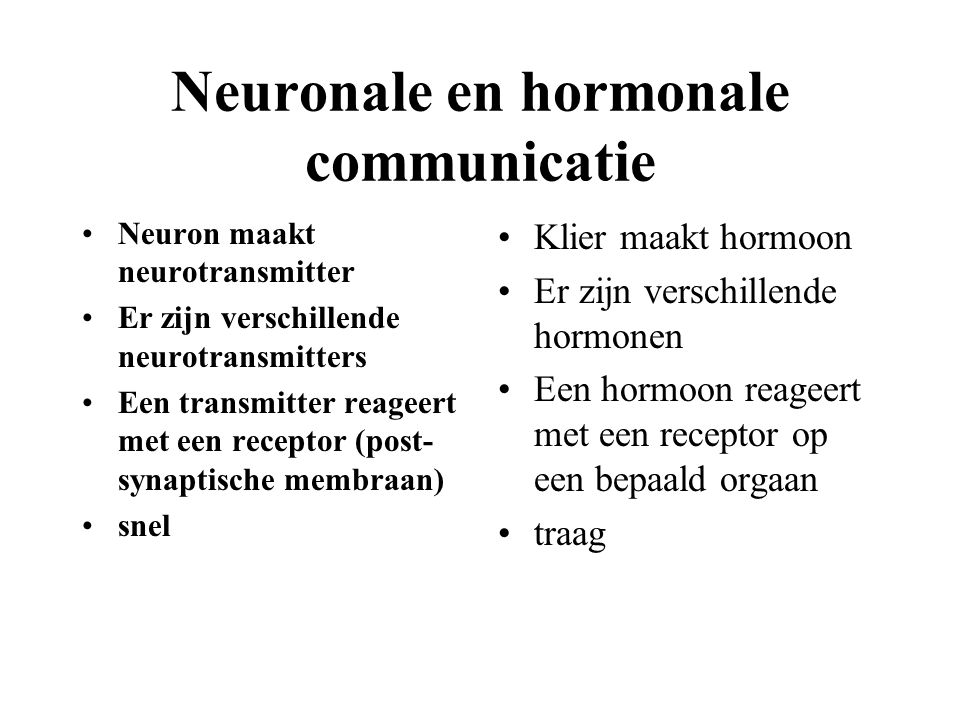 Neuronale en hormonale communicatie