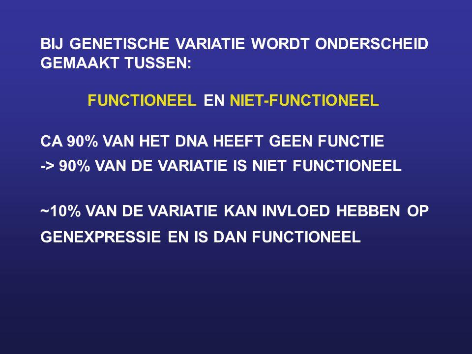 BIJ GENETISCHE VARIATIE WORDT ONDERSCHEID