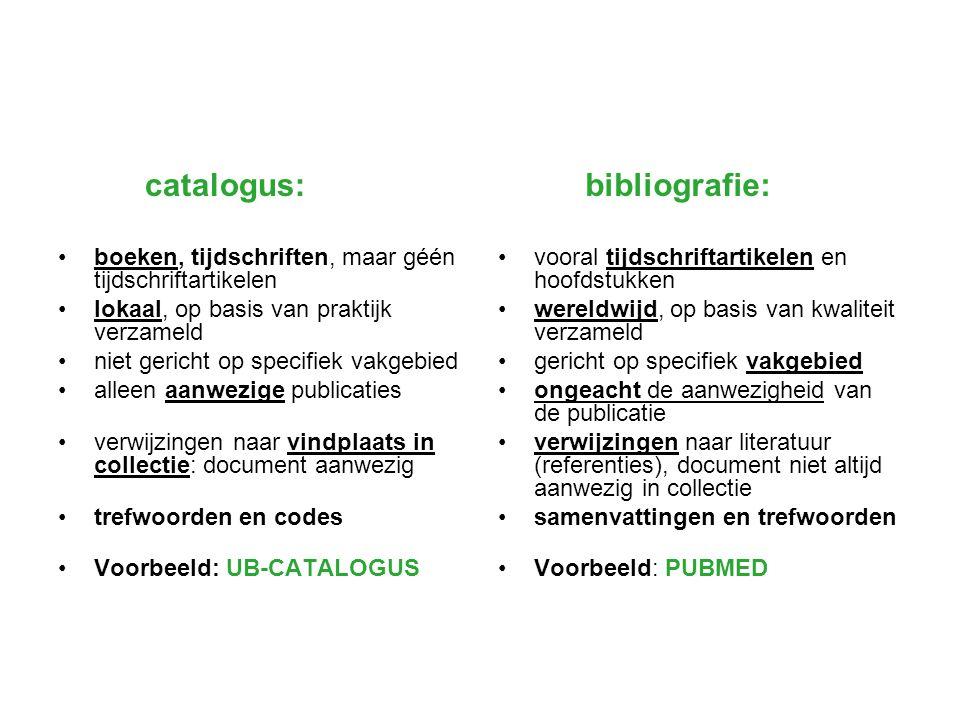 catalogus: boeken, tijdschriften, maar géén tijdschriftartikelen. lokaal, op basis van praktijk verzameld.