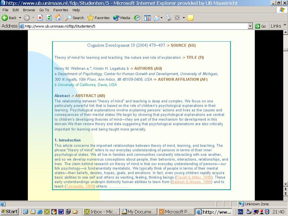 Bepaalde gegevens worden uit het artikel zelf gehaald en in velden opgenomen: auteur, titel artikel, titel tijdschrift>bron, samenvatting, referenties (hier in bruin gekleurd)