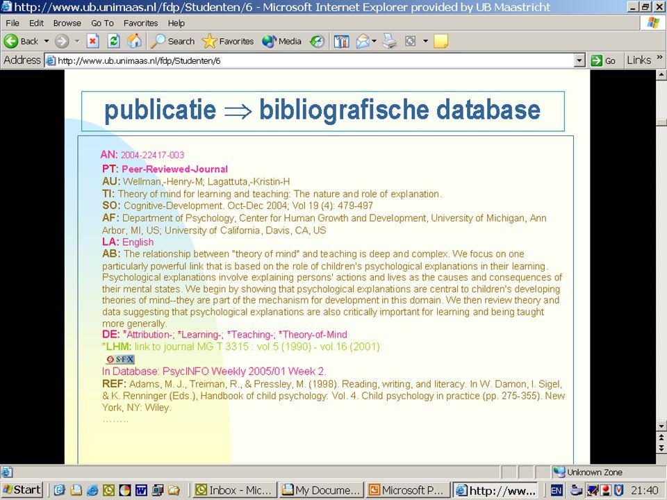 Bepaalde gegevens (hier rood gekleurd) worden door de bestandsproducent in velden toegevoegd: document type, taal, trefwoorden en ook de UB voegt eenveld toe (in groen gekleurd): waar is dit artikel te vinden