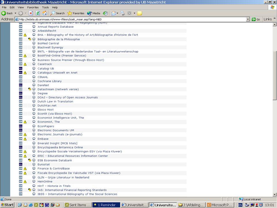 In de lijst a-z bestanden vind je onder het I-icoontje meer informatie over het betreffende bestand.