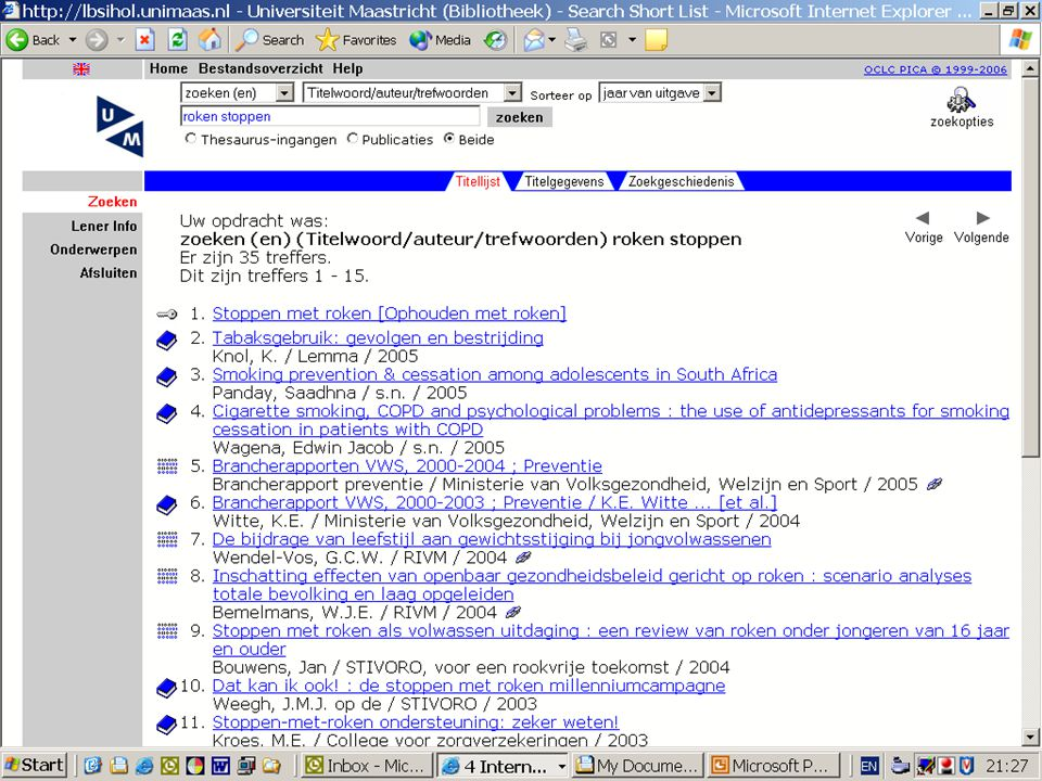 Jullie waarschijnlijk welbekend: het zoekscherm van de ub_catalogus