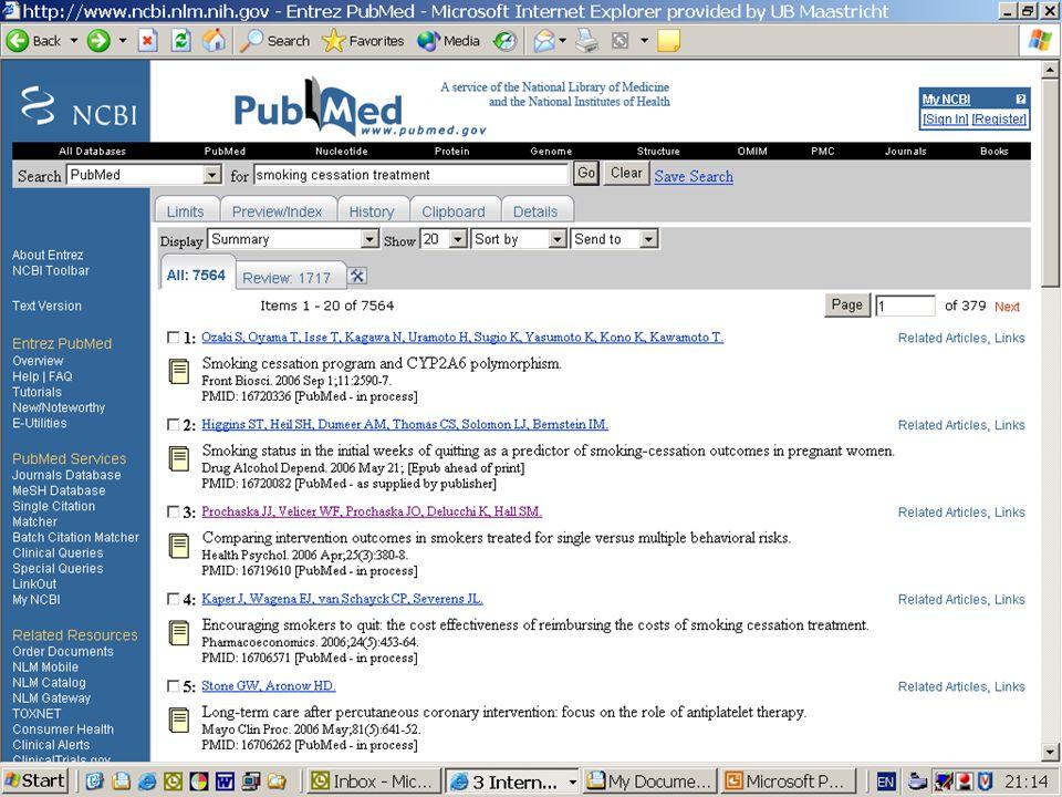 PubMed van de National Library of Medicine: sterk klinisch, vooral Amerikaans, 5000 tijdschriften, 16 miljoen referenties.