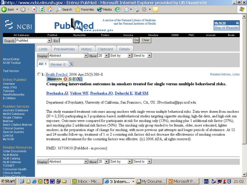 Wat gebeurt als je op auteursveld van referentie in PubMed klikt