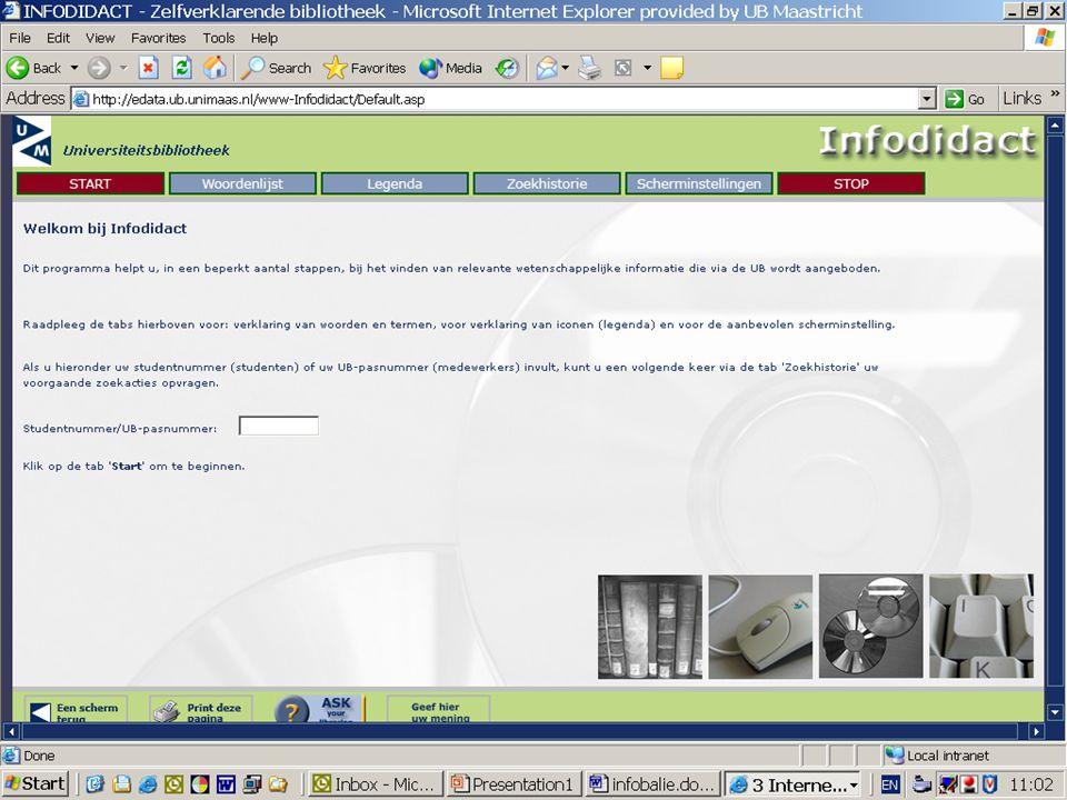 Een ander hulpmiddel: via de ub homepage kun je terecht bij infodidact: Dit programma helpt, in een beperkt aantal stappen, bij het vinden van relevante wetenschappelijke informatie die via de UB wordt aangeboden