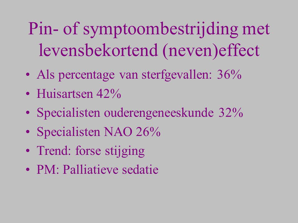 Pin- of symptoombestrijding met levensbekortend (neven)effect