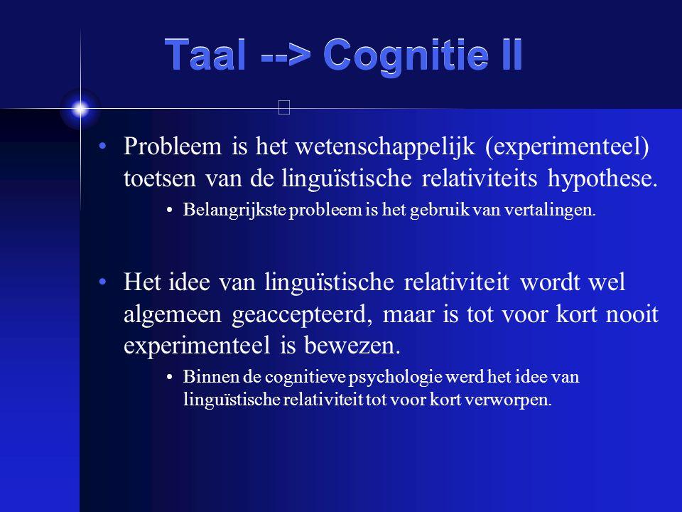 Taal --> Cognitie II