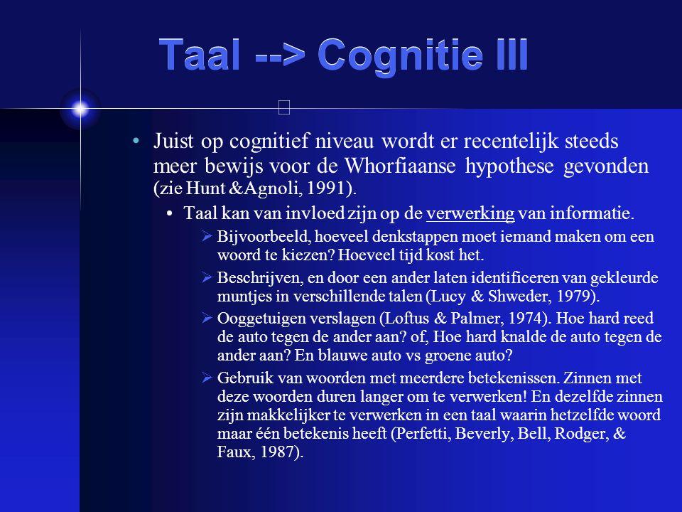 Taal --> Cognitie III