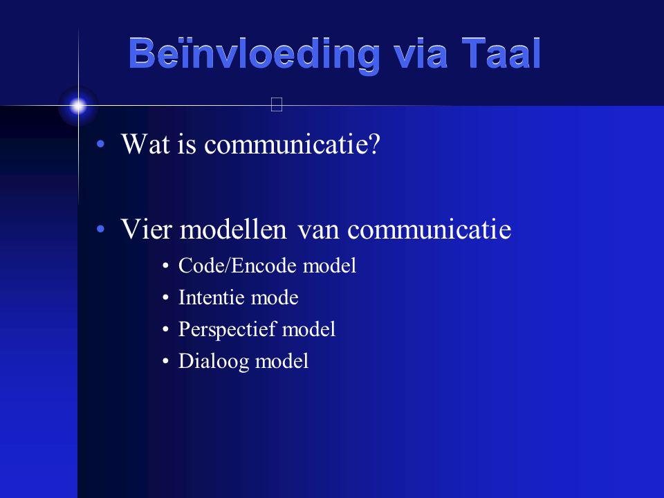 Beïnvloeding via Taal Wat is communicatie
