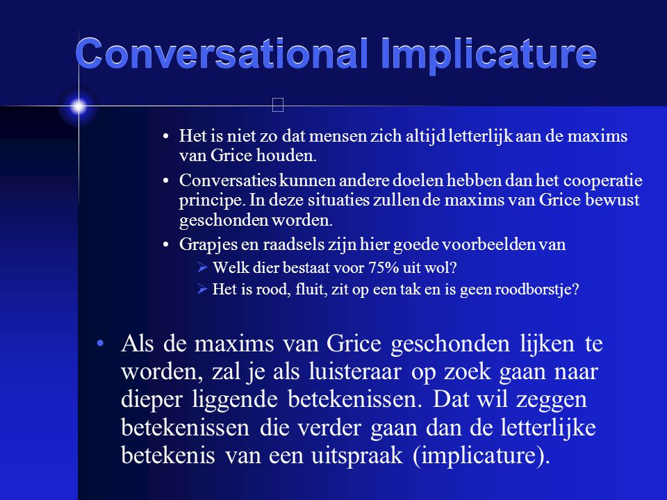 Conversational Implicature