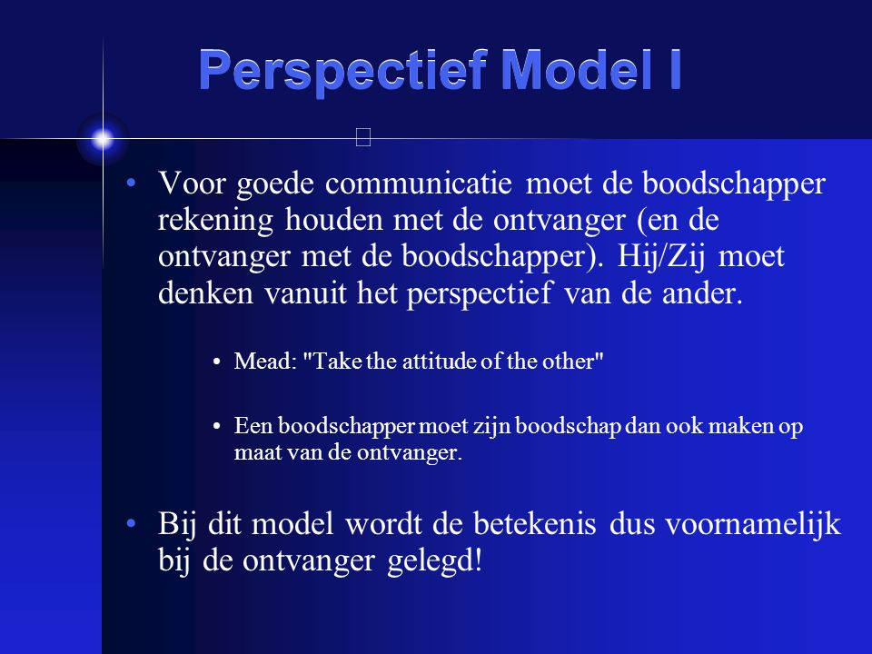 Perspectief Model I