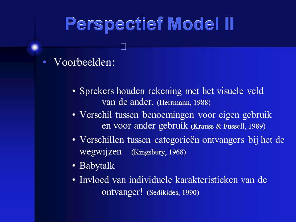 Perspectief Model II Voorbeelden: