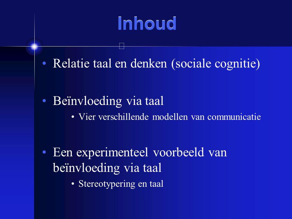 Inhoud Relatie taal en denken (sociale cognitie) Beïnvloeding via taal