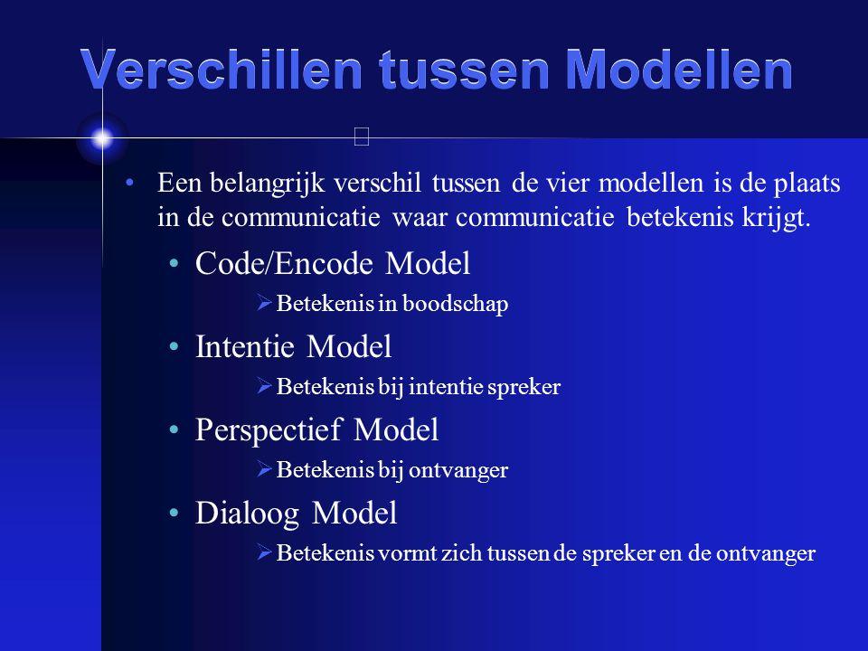 Verschillen tussen Modellen