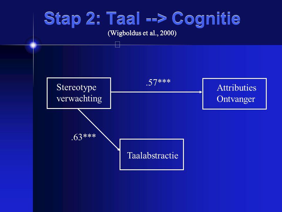 Stap 2: Taal --> Cognitie (Wigboldus et al., 2000)