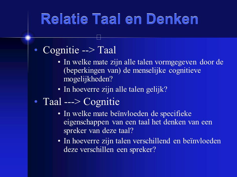 Relatie Taal en Denken Cognitie --> Taal Taal ---> Cognitie