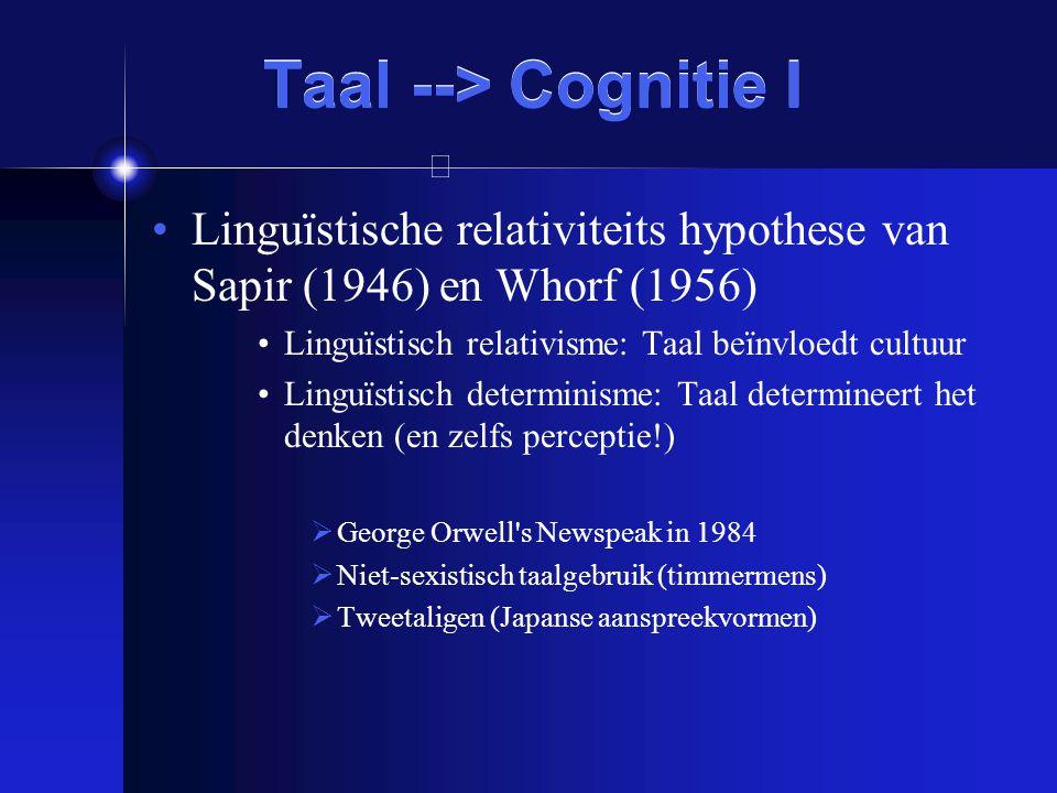 Taal --> Cognitie I Linguïstische relativiteits hypothese van Sapir (1946) en Whorf (1956) Linguïstisch relativisme: Taal beïnvloedt cultuur.