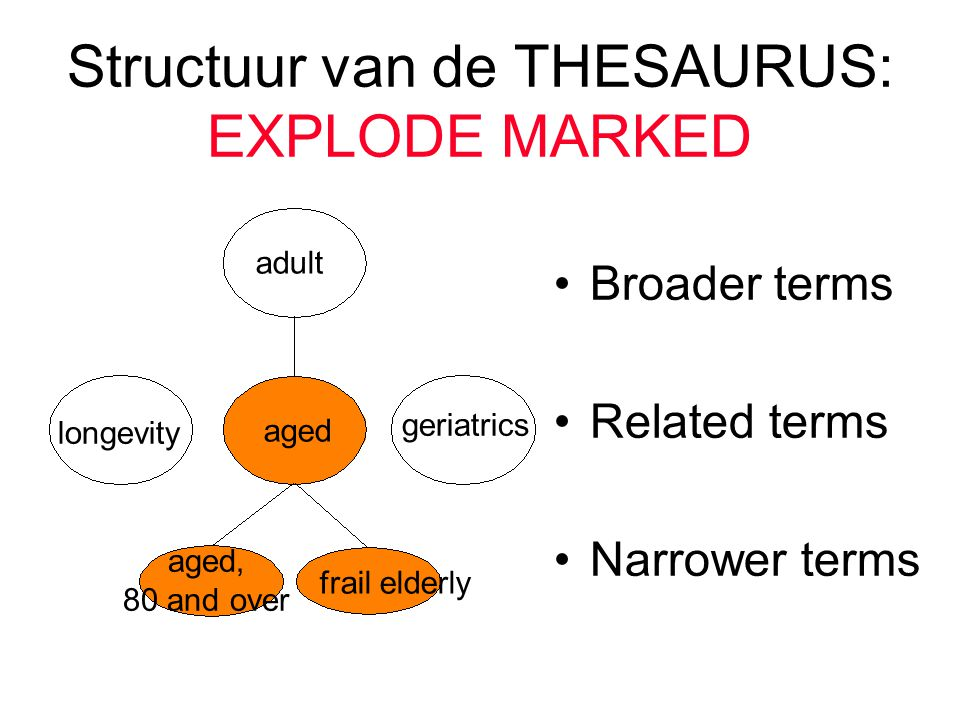 Structuur van de THESAURUS: EXPLODE MARKED