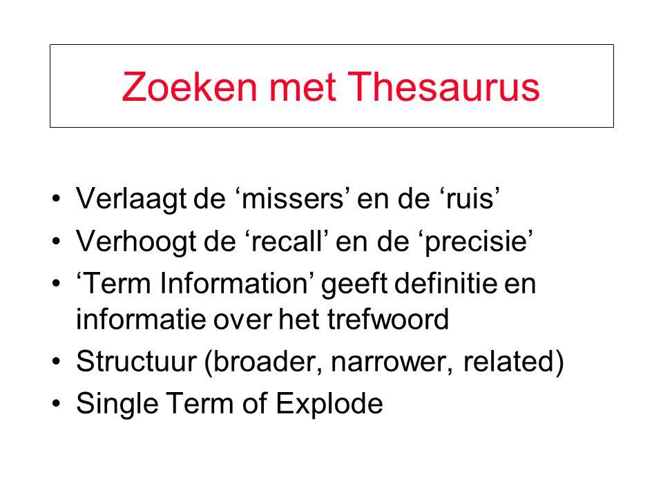 Zoeken met Thesaurus Verlaagt de 'missers' en de 'ruis'