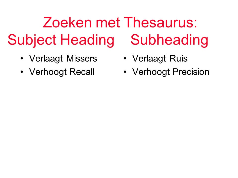 Zoeken met Thesaurus: Subject Heading Subheading