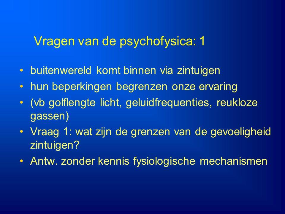 Vragen van de psychofysica: 1