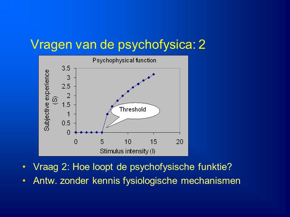 Vragen van de psychofysica: 2