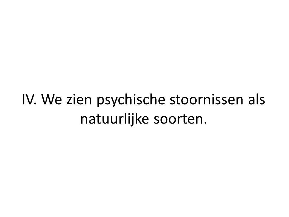 IV. We zien psychische stoornissen als natuurlijke soorten.