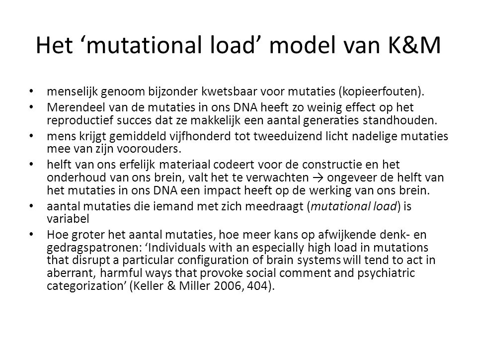 Het 'mutational load' model van K&M