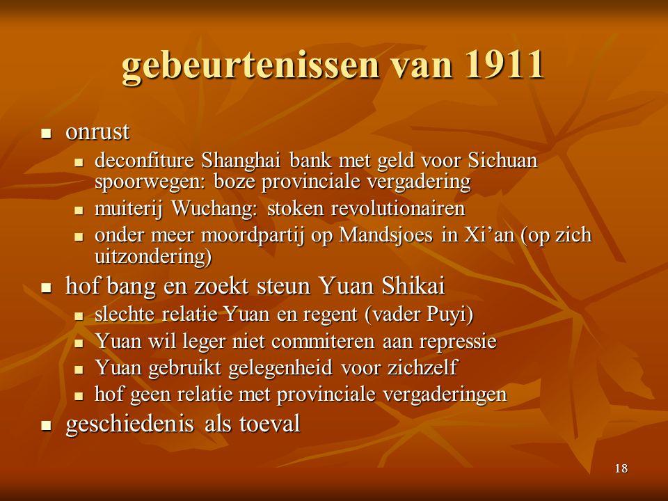 gebeurtenissen van 1911 onrust hof bang en zoekt steun Yuan Shikai