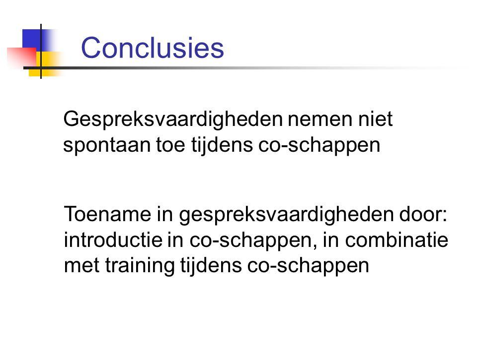 Conclusies Gespreksvaardigheden nemen niet spontaan toe tijdens co-schappen.