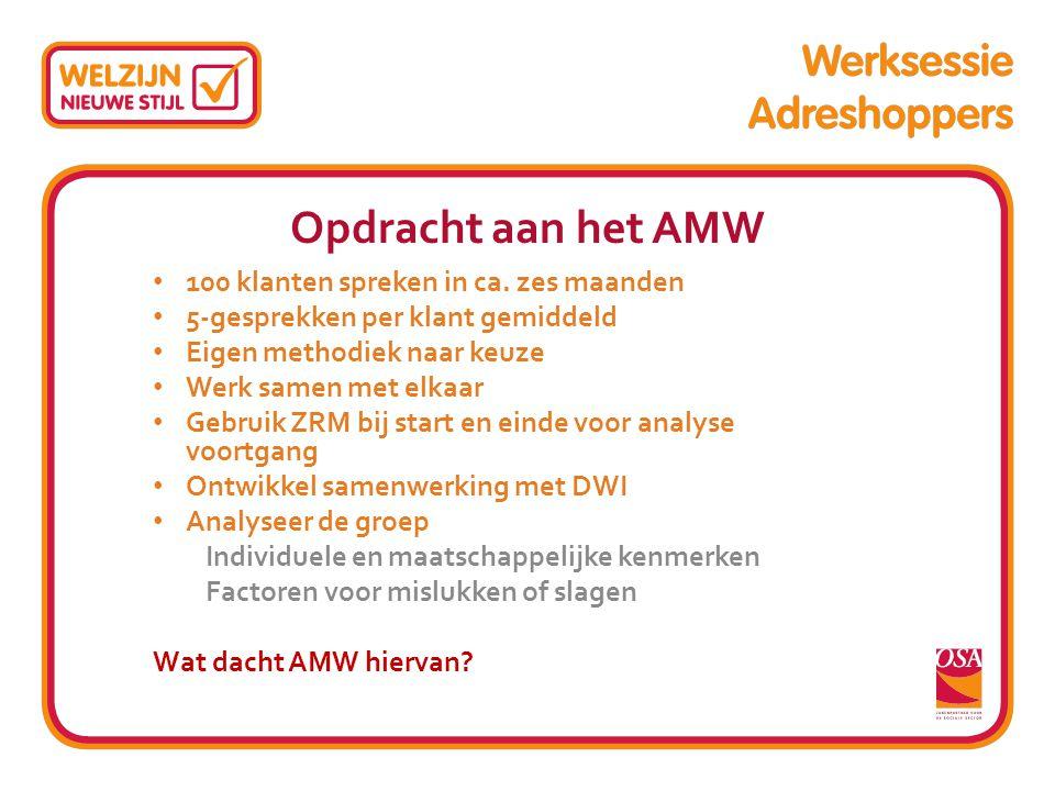 Opdracht aan het AMW 100 klanten spreken in ca. zes maanden