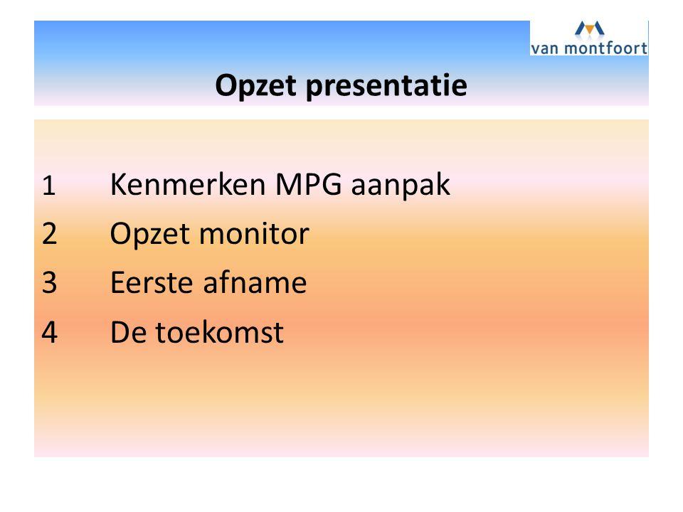 Opzet presentatie 2 Opzet monitor 3 Eerste afname 4 De toekomst