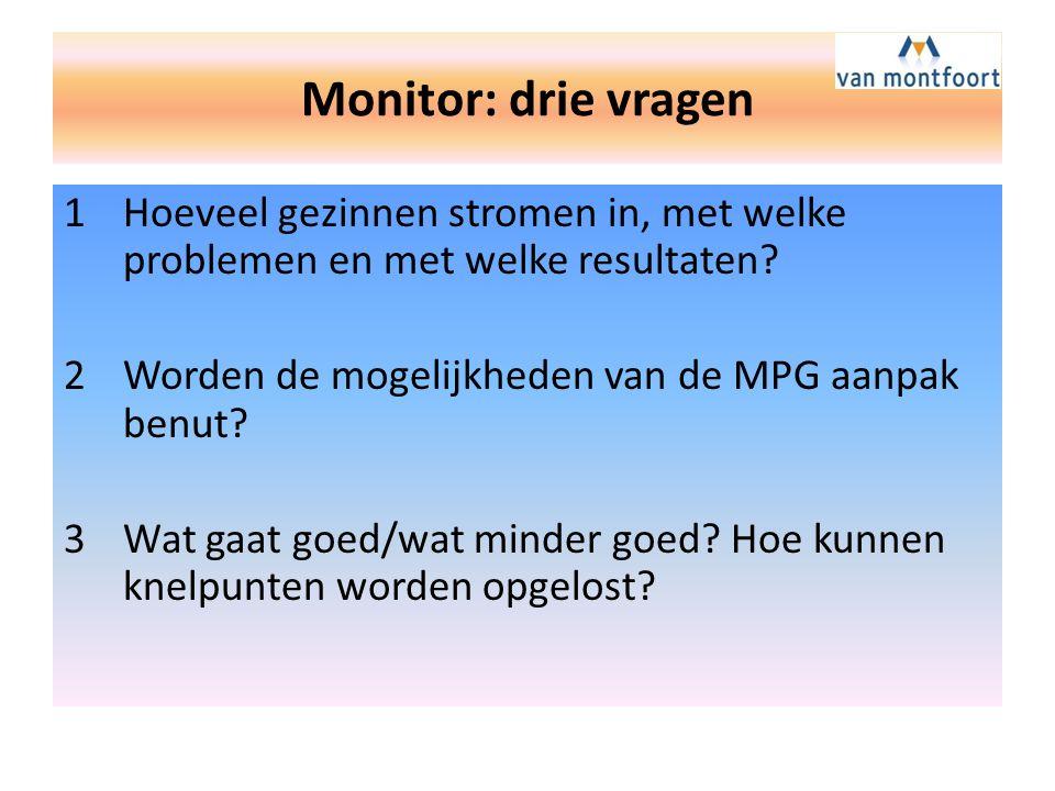 Monitor: drie vragen Hoeveel gezinnen stromen in, met welke problemen en met welke resultaten Worden de mogelijkheden van de MPG aanpak benut