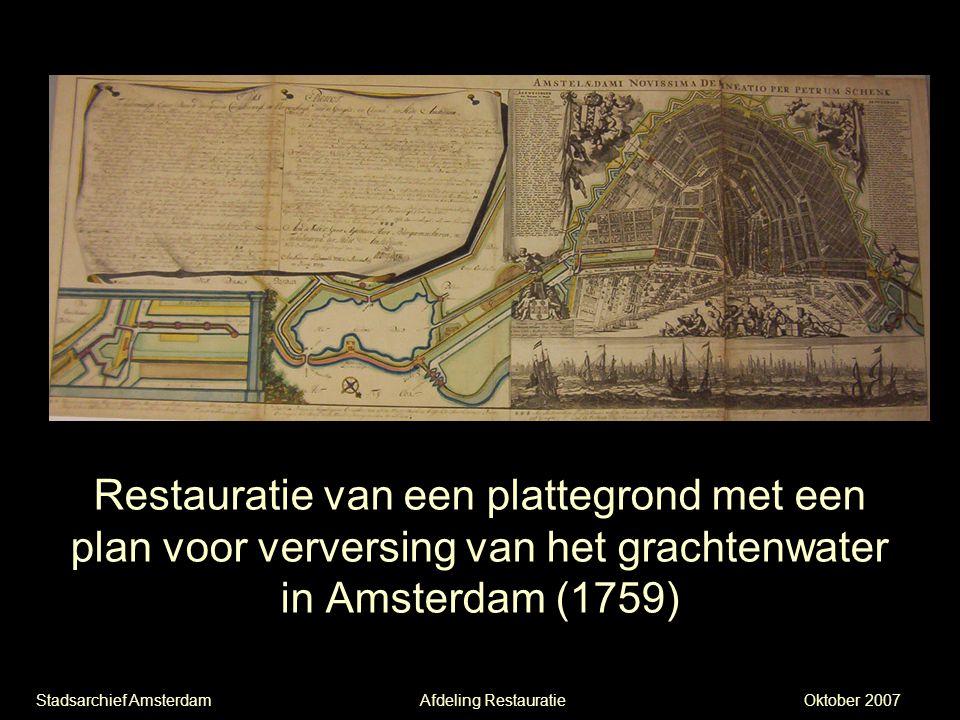 Restauratie van een plattegrond met een plan voor verversing van het grachtenwater in Amsterdam (1759)