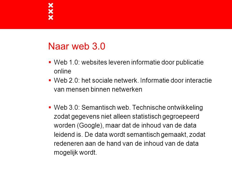 Naar web 3.0 Web 1.0: websites leveren informatie door publicatie online.
