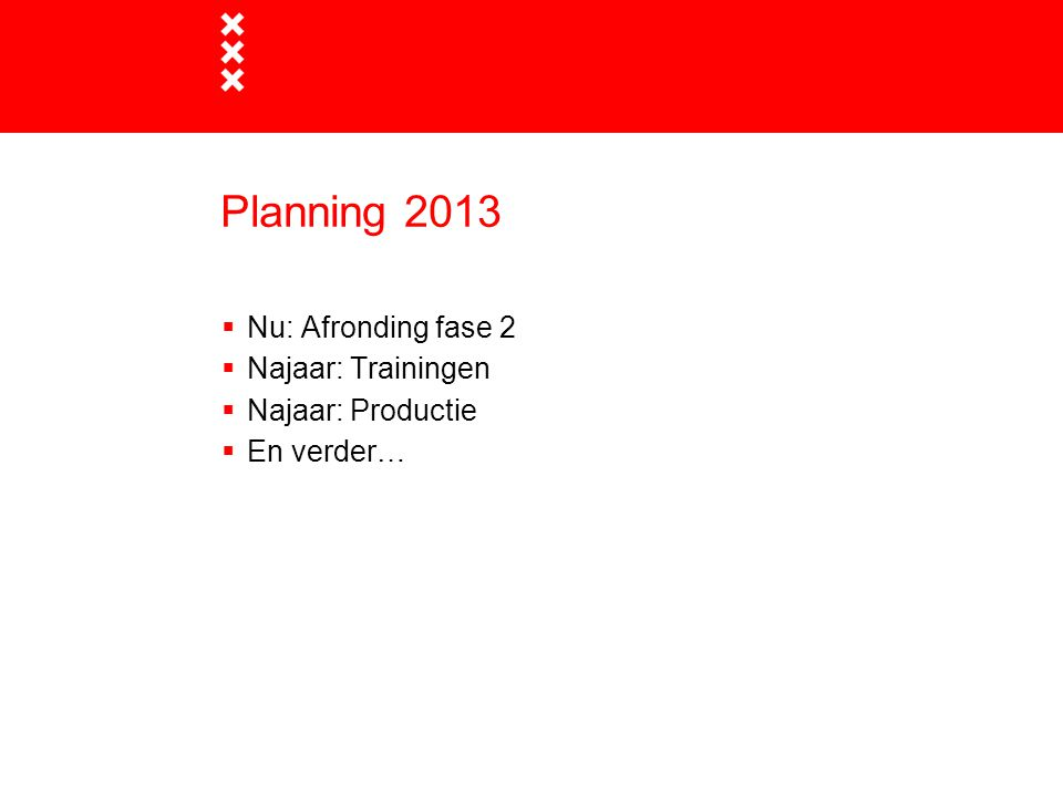 Planning 2013 Nu: Afronding fase 2 Najaar: Trainingen