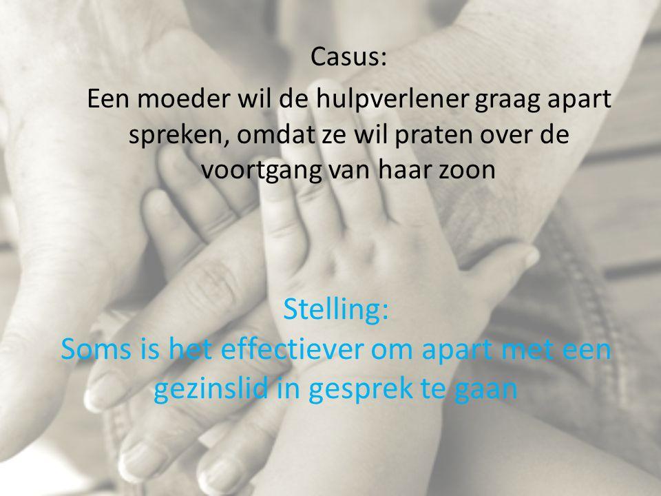 Casus: Een moeder wil de hulpverlener graag apart spreken, omdat ze wil praten over de voortgang van haar zoon.