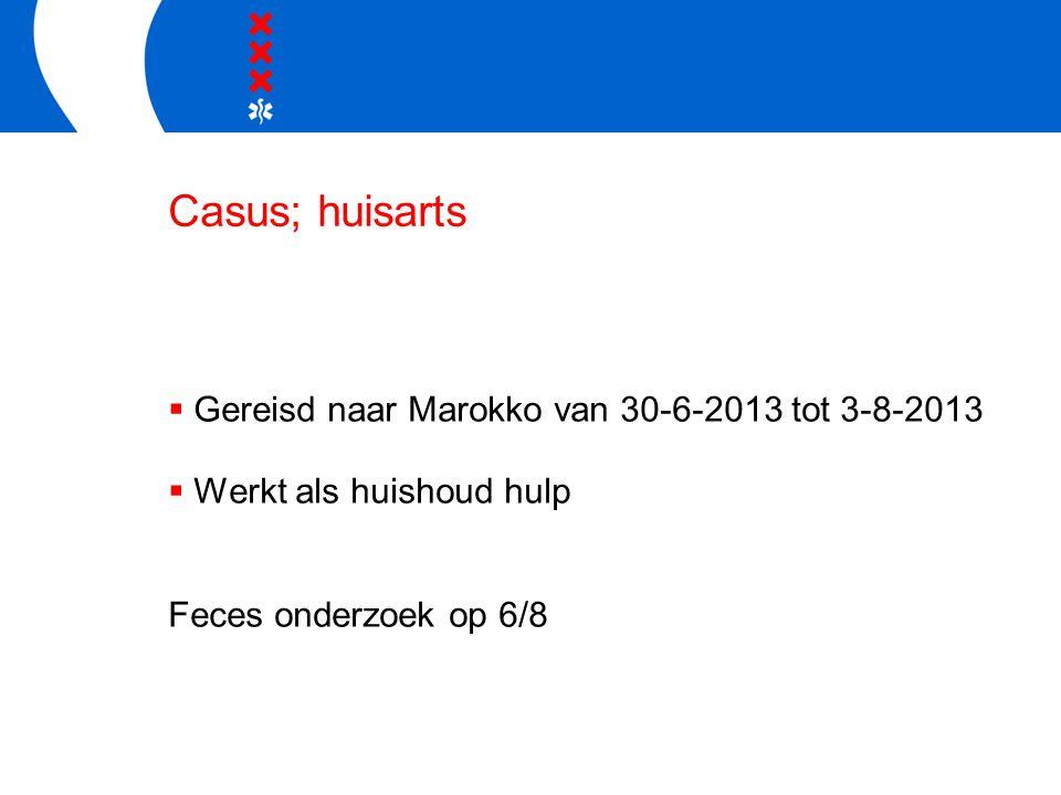 Casus; huisarts Gereisd naar Marokko van 30-6-2013 tot 3-8-2013