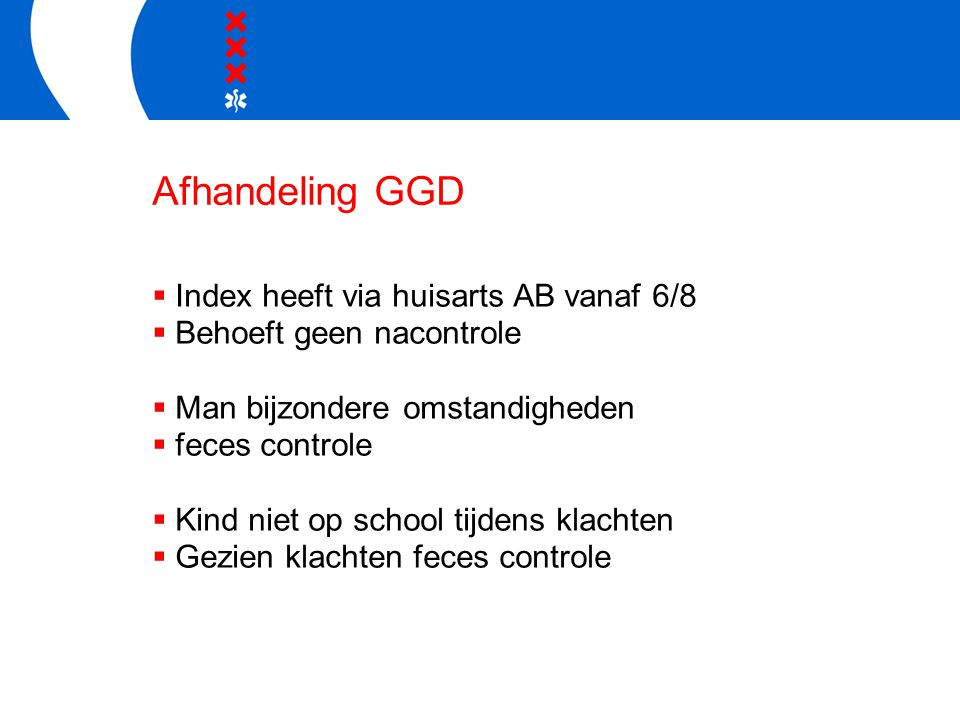 Afhandeling GGD Index heeft via huisarts AB vanaf 6/8