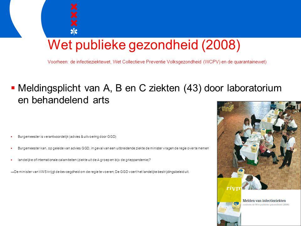 Wet publieke gezondheid (2008) Voorheen: de infectieziektewet, Wet Collectieve Preventie Volksgezondheid (WCPV) en de quarantainewet)