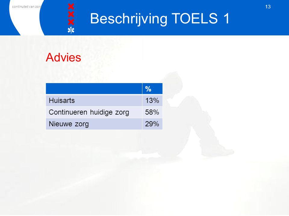 Beschrijving TOELS 1 Advies % Huisarts 13% Continueren huidige zorg