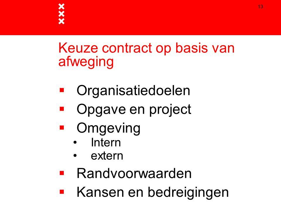 Keuze contract op basis van afweging