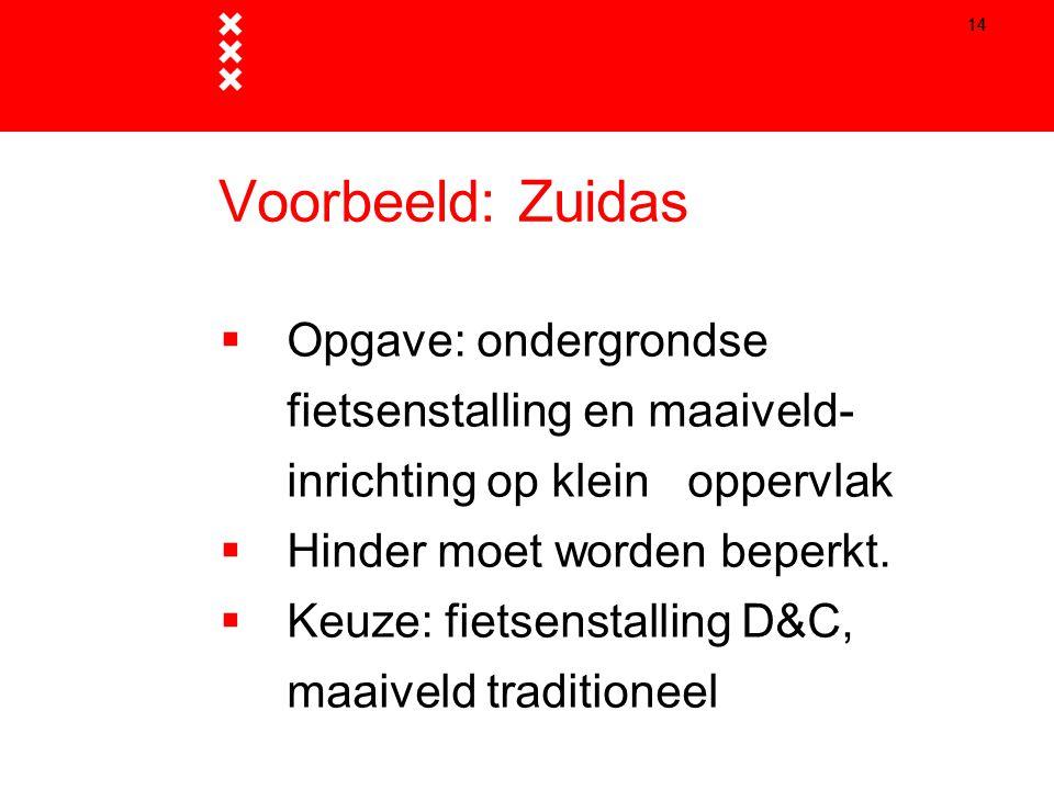 Titel presentatie 14. Voorbeeld: Zuidas. Opgave: ondergrondse fietsenstalling en maaiveld- inrichting op klein oppervlak.