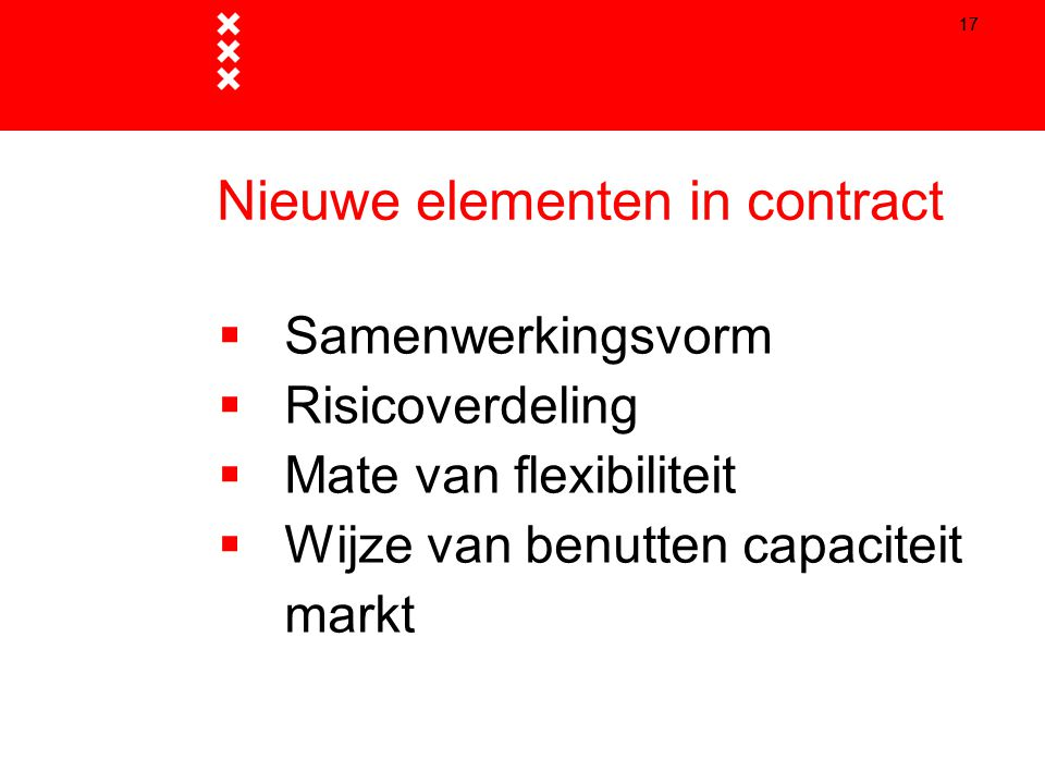 Nieuwe elementen in contract