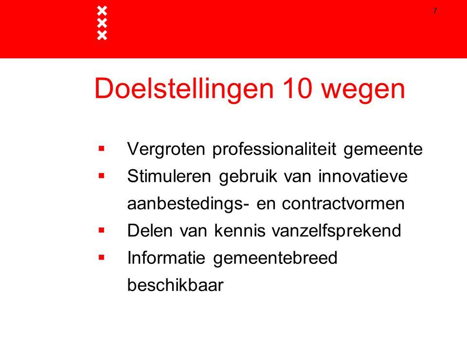 Doelstellingen 10 wegen Vergroten professionaliteit gemeente